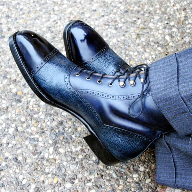 Hand Stitched Two Tones high Ankle Rounded Cap Toe Genuine Leather Lace Up Boots for Men Sold at Store Envy